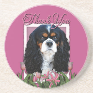 Thank You - Pink Tulips - Cavalier - Tri-Color Drink Coaster