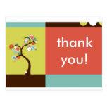 thank you : retro tree postcard