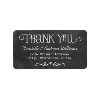 Thank You Return Address Labels | Black Chalkboard