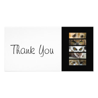 Thank You slim Card - Animals Eyes Photo Card Template