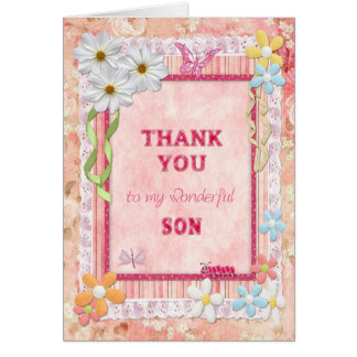 Thank you son, flowers and butterflies craft card