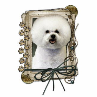 Thank You - Stone Paws - Bichon Frise Standing Photo Sculpture