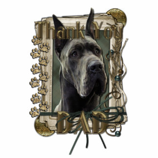 Thank You - Stone Paws - Great Dane - Grey - Dad Standing Photo Sculpture