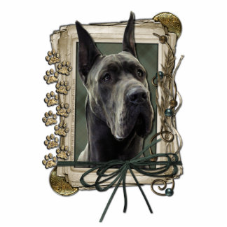 Thank You - Stone Paws - Great Dane - Grey Standing Photo Sculpture