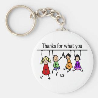 Thanks for what you Teach US Fun Teacher art Basic Round Button Key Ring