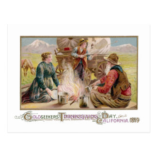 Thanksgiving for Gold Panners in 1849 California Postcard