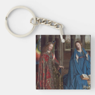 The Annunciation by Jan van Eyck Double-Sided Square Acrylic Key Ring