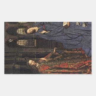 The Annunciation by Jan van Eyck Rectangular Sticker