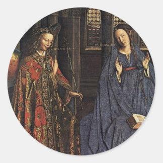The Annunciation by Jan van Eyck Round Sticker
