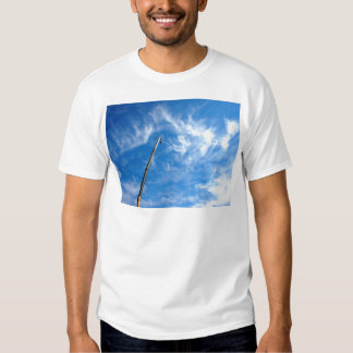 The boom of the crane on a diagonal against a blue tshirts