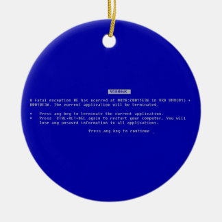 The Computer Blue Screen of Death Round Ceramic Decoration