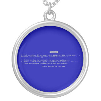 The Computer Blue Screen of Death Round Pendant Necklace