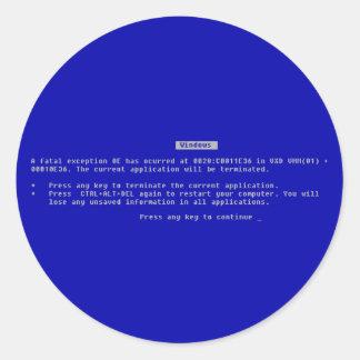 The Computer Blue Screen of Death Round Sticker