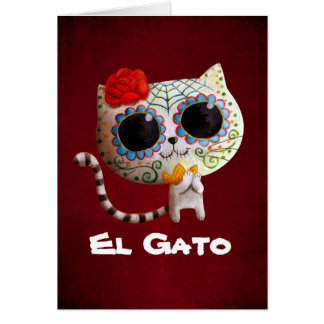 The Day of The Dead Cute Cat Greeting Card