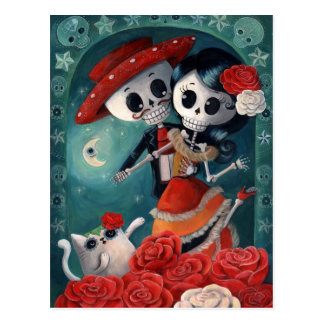 The Day of The Dead Skeleton Lovers Postcard