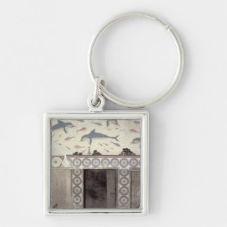 The Dolphin Frescoes in the Queen's Bathroom Silver-Colored Square Key Ring