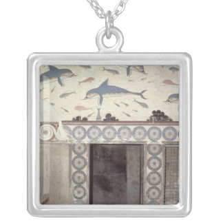 The Dolphin Frescoes in the Queen's Bathroom Square Pendant Necklace