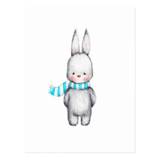 The Drawing of Cute Bunny in Scarf Postcard