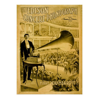 The Edison Concert Phonograph Vintage Advert Poster