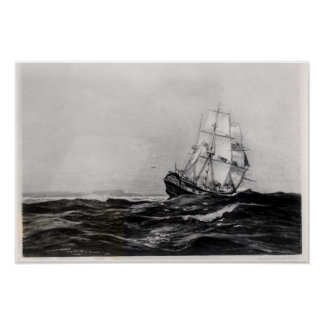 The Endeavour at Sea, 1900, engraved by Lowy Poster