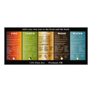 The five elements customised rack card