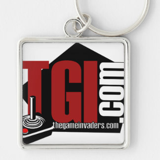 The Game Invaders merchandise Silver-Colored Square Key Ring