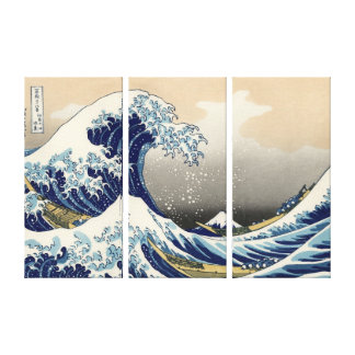 The Great Wave off Kanagawa, Hokusai Stretched Canvas Print
