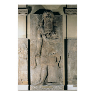 The hero Gilgamesh holding a lion Poster