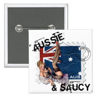 The Kitsch Bitsch : Aussie & Saucy Pin-Up 15 Cm Square Badge