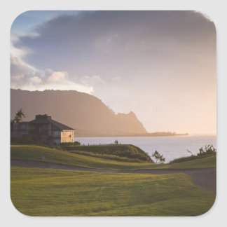 The Makai golf course in Princeville 3 Square Sticker