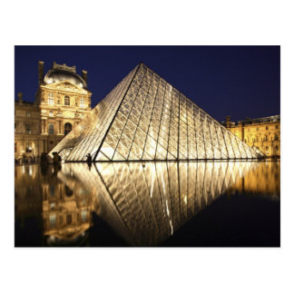 The night view of the glass Pyramid of Musee du Postcard