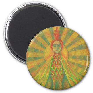 """The Phoenix"", sun bird, goddess, yellow &orange, 6 Cm Round Magnet"