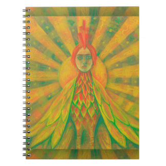 """The Phoenix"", sun bird, goddess, yellow & orange, Note Books"