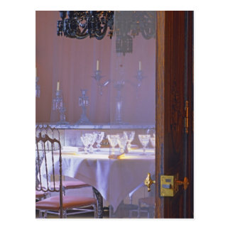 The private dining room with the black crystal postcard