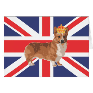 The Queen's Corgi with Crown and Union Jack Greeting Card
