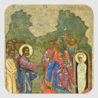 The Raising of Lazarus, Russian icon Square Sticker