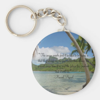 The reason people find it so hard to be happy basic round button key ring