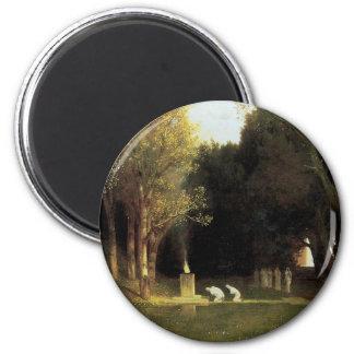 The Sacred Wood by Arnold Bocklin, Vintage Art 6 Cm Round Magnet
