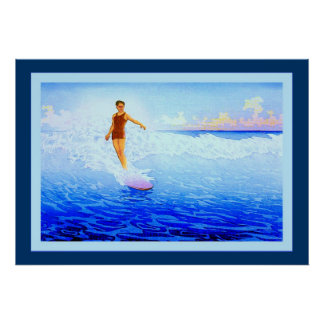The Surf Rider ~ Hawaii ~ Vintage Fine Art Poster