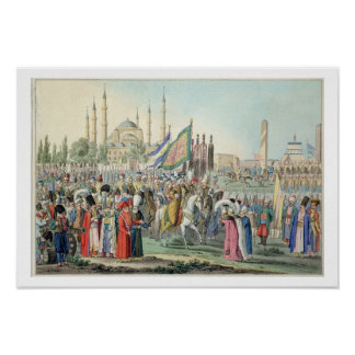 The Turkish Sultan reviewing his Janissaries (engr Poster