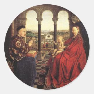 The Virgin of Chancellor Rolin by Jan van Eyck Round Sticker