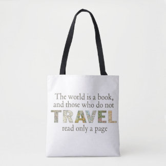 The World Is A Book | Travel Map Quotation Tote Bag