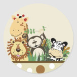 The Zoo Crew Jungle Envelope Seals - Tan Round Sticker