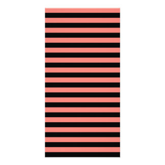 Thin Stripes - Black and Coral Pink Photo Card