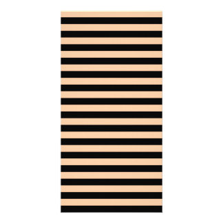 Thin Stripes - Black and Deep Peach Photo Card