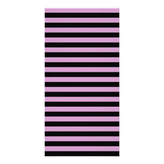 Thin Stripes - Black and Light Medium Orchid Customised Photo Card