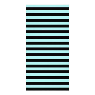 Thin Stripes - Black and Pale Blue Personalized Photo Card