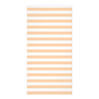 Thin Stripes - White and Deep Peach Photo Greeting Card
