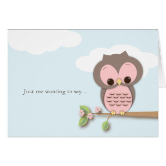 Thinking of You Little Hello Pink Owl Card