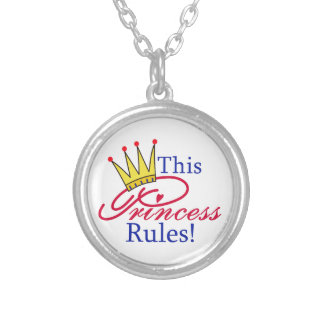 This Princess Rules! Round Pendant Necklace